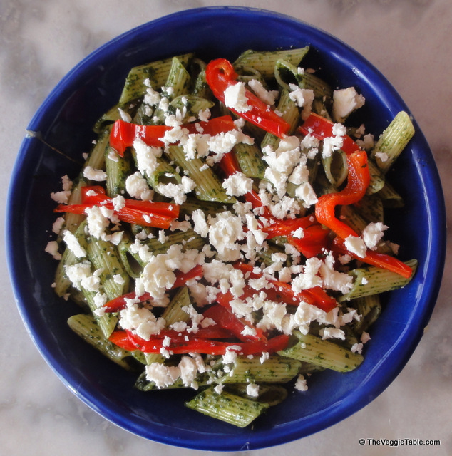 Pesto, red pepper, and feta pasta